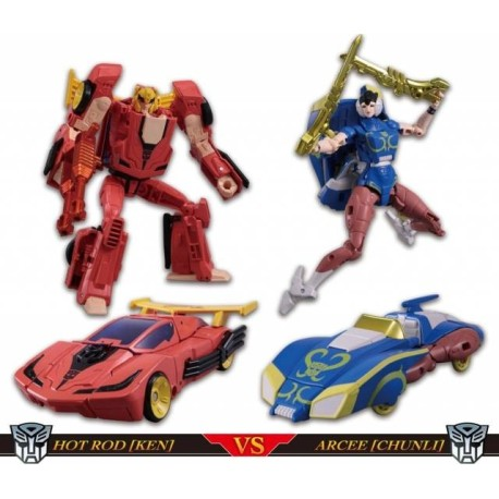 Transformers Takara Tomy Mall Exclusives Street Fighters II Ken vs. Chun-Li Set
